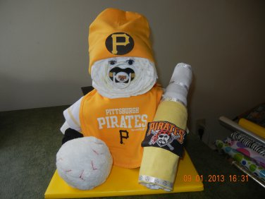 Pittsburgh Pirates Sports Diaper Baby Cake
