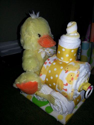 Duck Train Diaper Cake