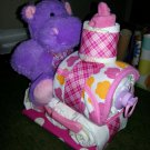 Hippo Train Diaper Cake