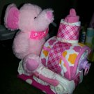 Elephant Train Diaper Cake