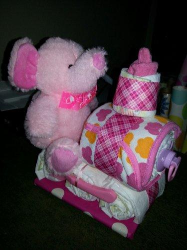 Elephant Train Diaper Cake