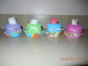 Spa Washcloth Cupcake Favors-baby shower favors-bridal shower favors, treat bags