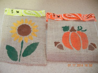 Fall or Spring Treat Bags, Birthday Party Bags, Goodie Bag, Country Wedding Favors, Burlap Bags
