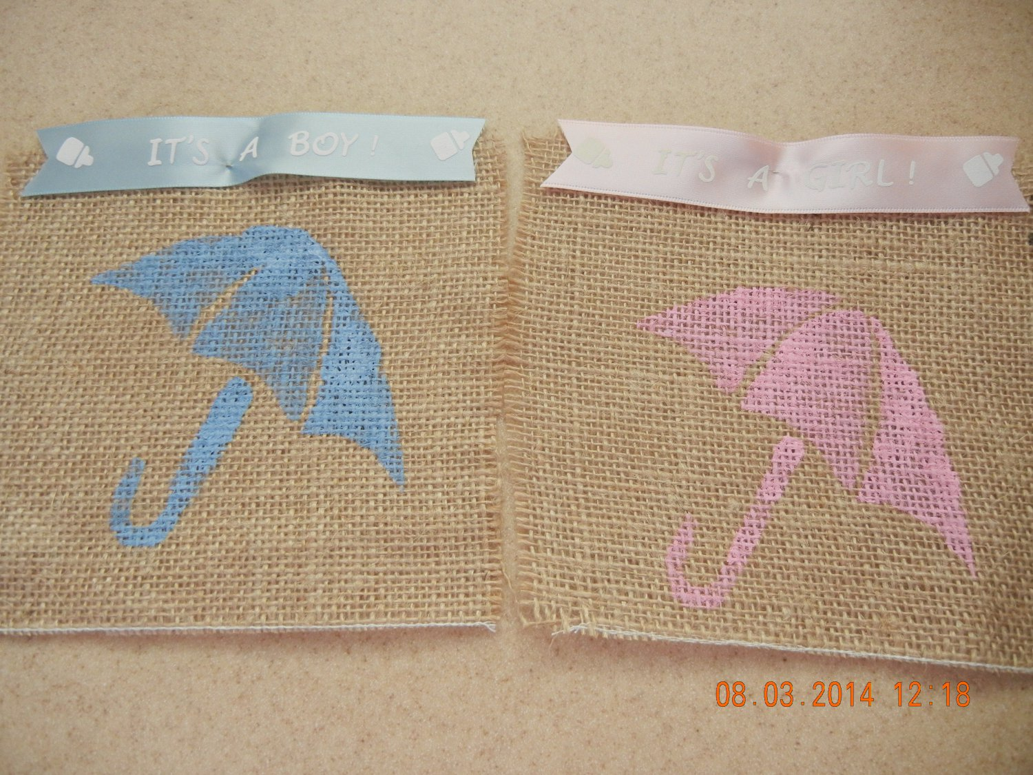 Baby Footprint, Umbrella, Rattle or Bottle Treat Bags, Party Bags, Baby Shower Favors, Burlap Bags