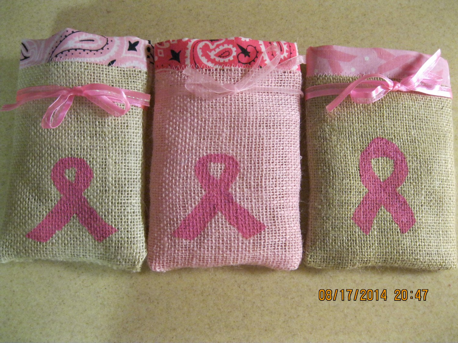 Breast Cancer Treat Bags; Awareness Party Bags; Pink Ribbon Bags, Wedding, Baby Favors, Burlap Bags