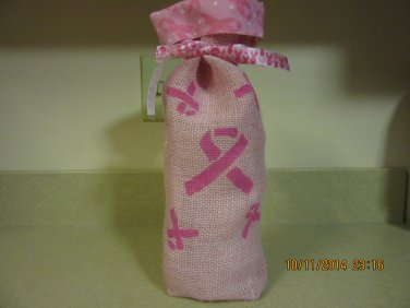 """Breast Cancer Awareness Wine Bags  6"""" x 15"""",Burlap Wine Bags, Party Wine Bags"""