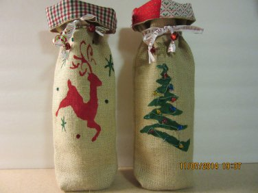 "Holiday Wine Bags  6"" x 15"",Burlap Wine Bags, Party Wine Bags, New Years Gift, Christmas Wine Bags"