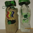 "St Patrick's Day  Wine Bags  6"" x 15"",Burlap Wine Bags, Party Wine Bags,Centerpieces"