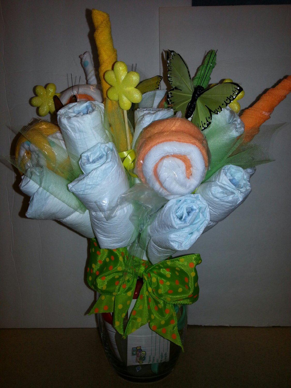 Washcloth diaper bouquet centerpiece
