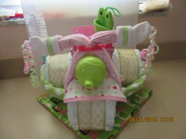 Girl Tricycle Diaper Cake with wicker basket