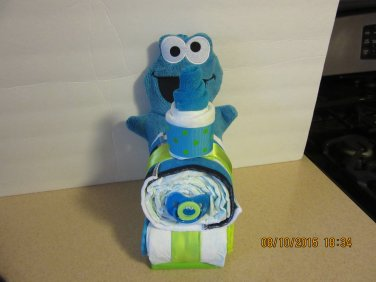 Cookie Monster Train Diaper Cake
