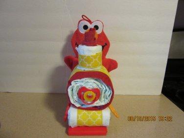 Elmo Train Diaper Cake