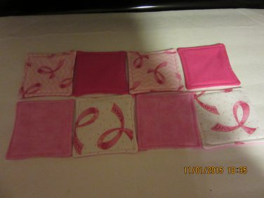 Breast Cancer Awareness Drink Coasters, Set of 4, Hostess Gifts, Fabric Coasters