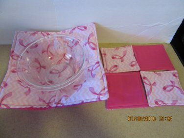 """Microwaver Bowl Cozies (Size 10""""-Small & set of 4 Coasters ), Breast Cancer, Kitchen Gift"""