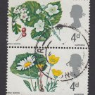 GB QE II Stamp 1967 Flowers 4d Blk 2 MFU SG717 SG719 Mauritron 78116