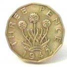 Pin Badge 3d Threepence Threepenny Bit. KG VII 1942 Mauritron #250244.
