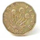 Pin Badge 3d Threepence Threepenny Bit. KG VII 1945 Mauritron #250247.