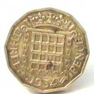 Pin Badge 3d Threepence Threepenny Bit. QE II 1954 Mauritron #250249.