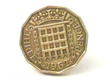 Pin Badge 3d Threepence Threepenny Bit. QE II 1962 Mauritron #250256.