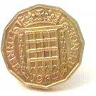 Pin Badge 3d Threepence Threepenny Bit. QE II 1964 Mauritron #250258.