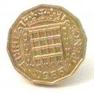 Pin Badge 3d Threepence Threepenny Bit. QE II 1966 Mauritron #250259.