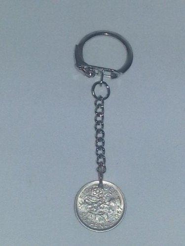 Keyring Lucky 6d Sixpence Coin 1967.   Mauritron #250486.