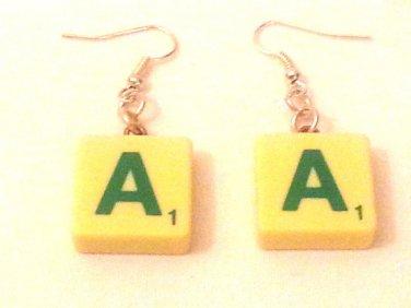 Earrings Pair of Scrabble Letter A Cream Tile.   Mauritron #250492.