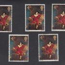 GB QEII Stamp. 1967 Paintings 4d Set of 5 MFU SG748 Mauritron #78134