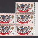 GB QEII Stamp. 1968 Christmas 4d Edge Block 4 MM SG775 Mauritron #78190