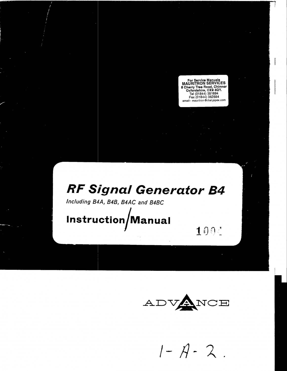 Advance B4B Signal Generator Service Manual PDF download