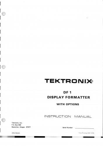 Tektronix DF1 Display Formatter Operating Guide PDF download.