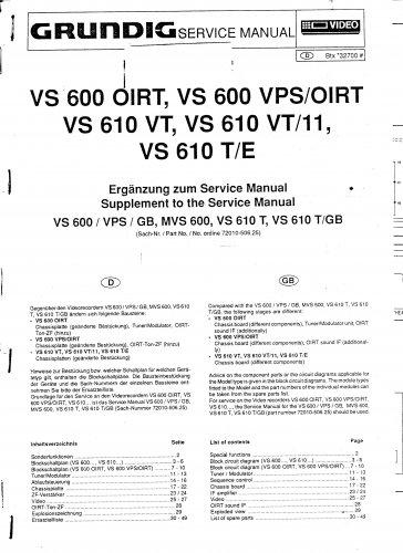 Grundig VS600 VPS-OIRT Video Recorder Service Manual PDF download.