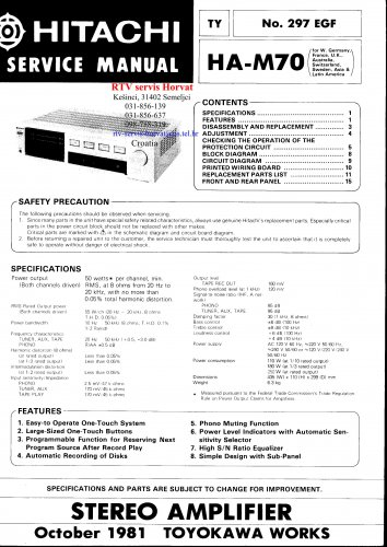 Hitachi  HAM70 Music System Service Manual PDF download.