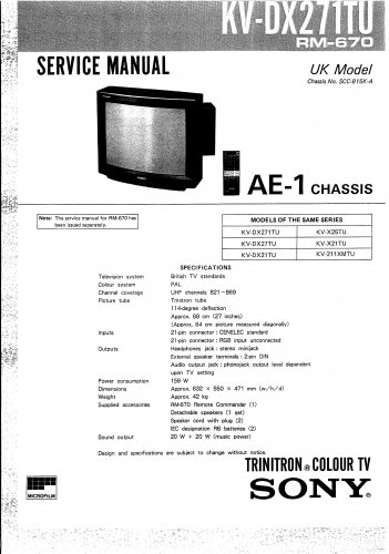 Sony KVC25. AE1 CHASSIS 3 Television Service Manual PDF download.