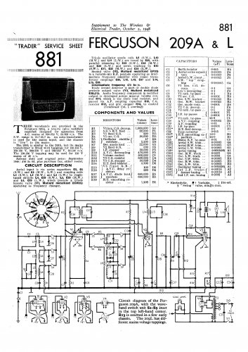 Ferguson 209A Vintage Audio Service Schematics PDF download.