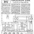 Ferguson 219A Vintage Audio Service Schematics PDF download.