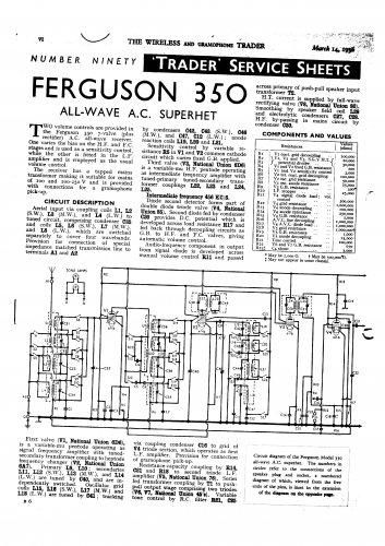 Ferguson 350 Vintage Audio Service Schematics PDF download.