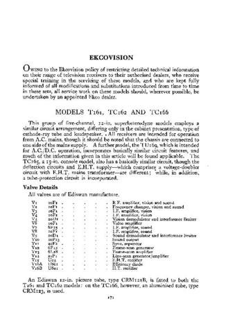 EKCO TC166 Equipment Service Information by download #90334