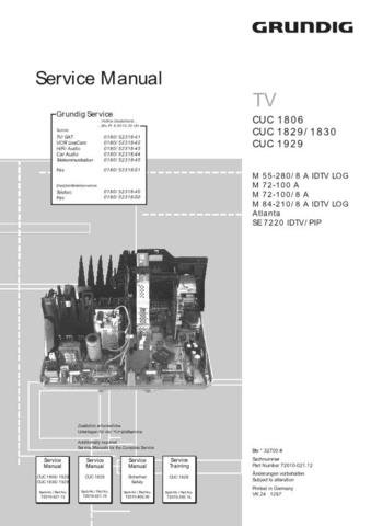 GRUNDIG M55-280-8 A IDTV LOG Service Info by download #90445
