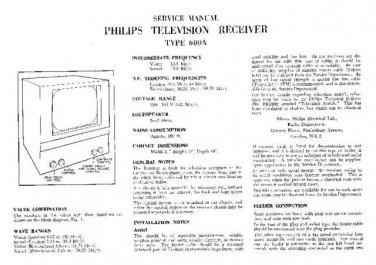 PHILIPS 600A Vintage TV Service Info  by download #90736