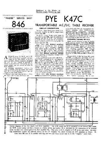 PYE K47C Vintage Service Information  by download #90924