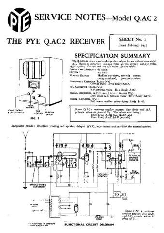 PYE QAC2 Vintage Service Information  by download #90973