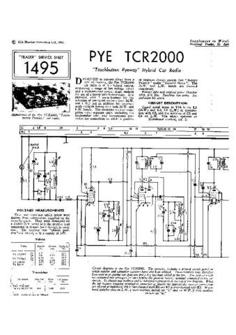 PYE TCR2000 Vintage Service Information  by download #91015