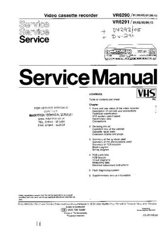PYE VR6291-08 Equipment Service Information by download #91054