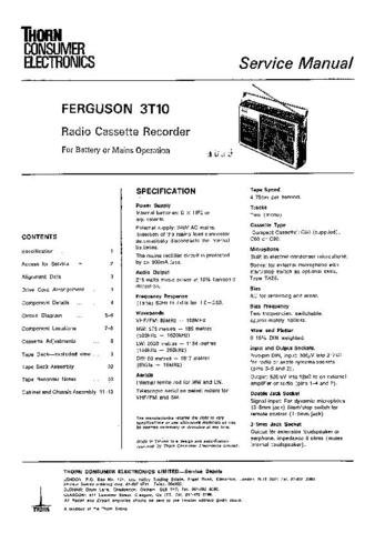 FERGUSON 3T10 Service Information by download #91544