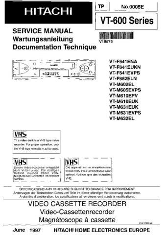 HITACHI VT600 Series Service Information  by download #91709