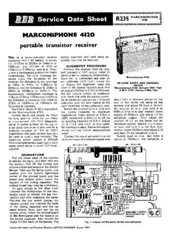 MARCONI 4120 Vintage Service Information  by download #91824