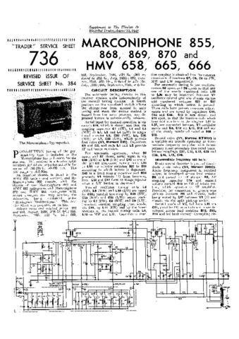 MARCONI 855 Vintage Service Information by download #91845