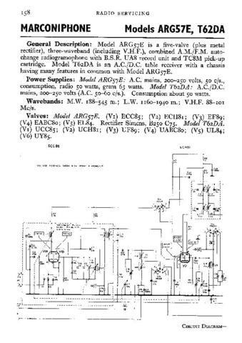 MARCONI T62DA Vintage Service Information by download #91878