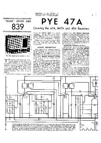 PYE 45A Vintage Service Information  by download #92032